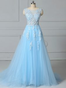 Fine Baby Blue Empire Tulle Scoop Sleeveless Lace Lace Up Prom Evening Gown Brush Train
