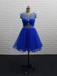 Royal Blue Zipper Prom Gown Beading and Ruching Sleeveless Mini Length