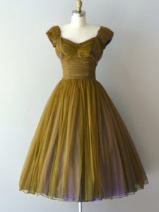Custom Design Olive Green Court Dresses for Sweet 16 Prom and Party and Sweet 16 with Ruching V-neck Cap Sleeves Lace Up