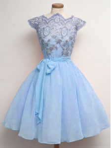 Latest Blue Chiffon Lace Up Scalloped Cap Sleeves Knee Length Quinceanera Court Dresses Lace and Belt