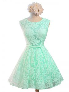 Clearance Apple Green Court Dresses for Sweet 16 Prom and Party and Wedding Party with Belt Scoop Sleeveless Lace Up