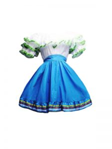 Elegant Blue And White A-line Ruffles Prom Party Dress Zipper Taffeta Short Sleeves Mini Length