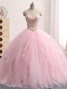 Traditional Brush Train Ball Gowns Quince Ball Gowns Baby Pink Spaghetti Straps Tulle Sleeveless Lace Up