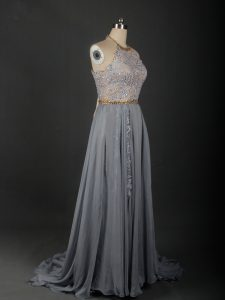 Halter Top Sleeveless Evening Dress Brush Train Beading and Appliques Grey Chiffon