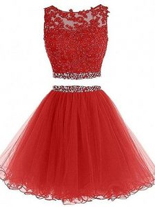 Beautiful Red Tulle Zipper Sleeveless Mini Length Beading
