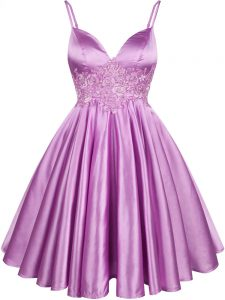 Inexpensive A-line Dama Dress Lilac Spaghetti Straps Elastic Woven Satin Sleeveless Knee Length Lace Up