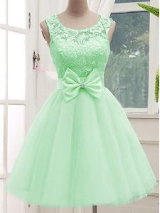 Apple Green Scoop Lace Up Lace and Bowknot Quinceanera Court Dresses Sleeveless