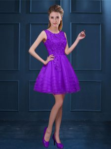 Dynamic Purple Zipper Damas Dress Lace and Ruffled Layers Sleeveless Knee Length