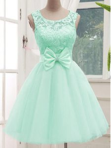 Dazzling Sleeveless Tulle Knee Length Lace Up Quinceanera Court of Honor Dress in Apple Green with Lace and Bowknot