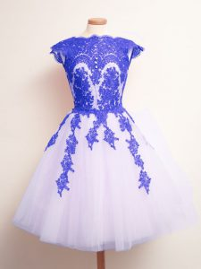 Excellent Mini Length Lace Up Vestidos de Damas Blue And White for Prom and Party and Wedding Party with Appliques