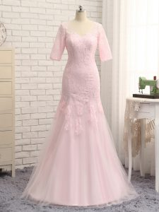 Sophisticated Baby Pink Column/Sheath Lace and Appliques Prom Evening Gown Zipper Tulle Half Sleeves Floor Length