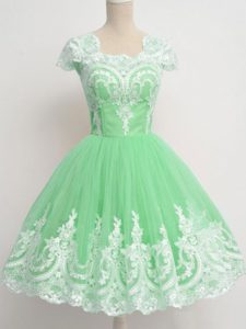 Clearance Apple Green Cap Sleeves Lace Knee Length Quinceanera Court of Honor Dress