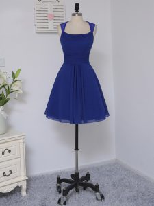 Royal Blue Empire Chiffon Straps Sleeveless Lace Mini Length Zipper Quinceanera Court of Honor Dress
