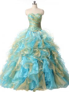 Discount Multi-color Lace Up Quinceanera Dress Beading and Ruffles Sleeveless Floor Length