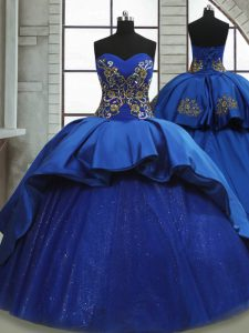 Free and Easy Royal Blue Satin and Tulle Lace Up 15th Birthday Dress Sleeveless Sweep Train Beading and Appliques