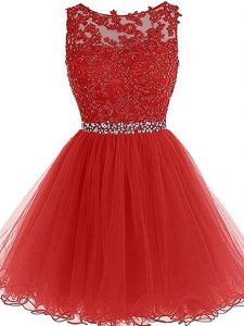 Sleeveless Tulle Mini Length Zipper in Red with Beading and Lace and Appliques