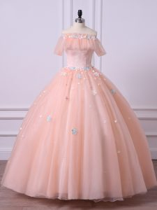 Modern Floor Length Peach Quinceanera Dress Off The Shoulder Short Sleeves Lace Up