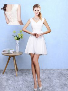 Dazzling Sleeveless Mini Length Lace Lace Up Damas Dress with White