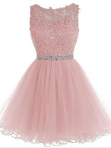 Scoop Sleeveless Organza Prom Dress Beading and Lace and Appliques Zipper