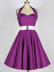 Purple Halter Top Lace Up Belt Dama Dress for Quinceanera Sleeveless