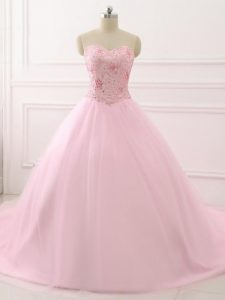 Lace Up Quinceanera Dresses Baby Pink for Military Ball and Sweet 16 and Quinceanera with Beading Brush Train