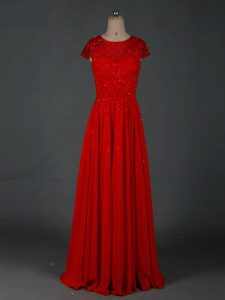 Red Chiffon Zipper Prom Dress Cap Sleeves Floor Length Beading