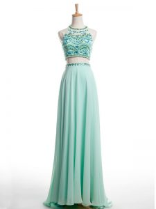 Spectacular Apple Green Halter Top Backless Beading Prom Evening Gown Brush Train Sleeveless
