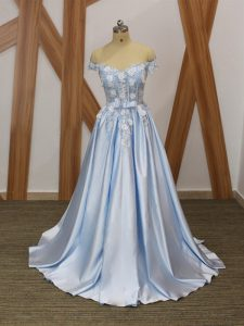 Unique Floor Length Light Blue Prom Dress Elastic Woven Satin Sleeveless Appliques and Belt