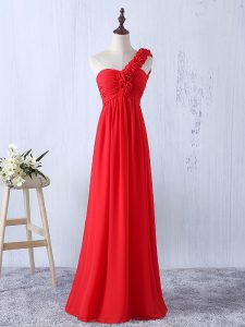Affordable Red One Shoulder Neckline Hand Made Flower Dama Dress for Quinceanera Sleeveless Lace Up