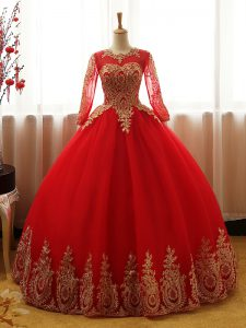 Red Scoop Neckline Appliques Sweet 16 Dress Long Sleeves Lace Up