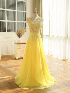 Pretty Yellow Scoop Zipper Lace and Appliques Dress for Prom Sleeveless