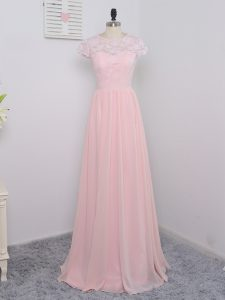 Baby Pink Empire Chiffon Scoop Short Sleeves Lace Floor Length Zipper Dama Dress