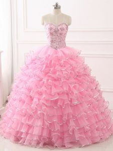 Top Selling Baby Pink Sleeveless Sweep Train Beading and Ruffled Layers 15th Birthday Dress