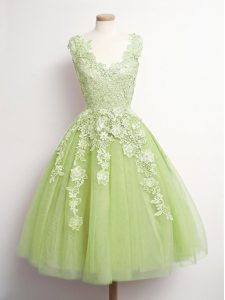 Sweet Yellow Green Damas Dress Prom and Party and Wedding Party with Appliques V-neck Sleeveless Lace Up