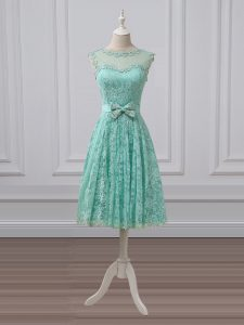 Sleeveless Knee Length Lace and Bowknot Lace Up Court Dresses for Sweet 16 with Apple Green