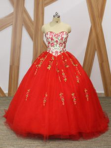 Free and Easy Red Ball Gowns Embroidery and Ruffled Layers Quince Ball Gowns Lace Up Tulle Sleeveless