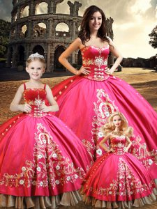 Superior Floor Length Lace Up Quinceanera Gown Hot Pink for Military Ball and Sweet 16 and Quinceanera with Beading and Embroidery