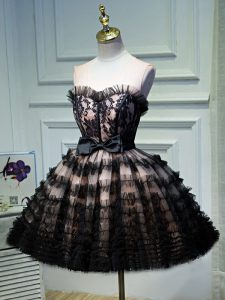 Sweetheart Sleeveless Backless Prom Gown Black Tulle