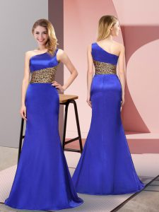 Suitable Pattern Prom Party Dress Royal Blue Side Zipper Sleeveless Floor Length