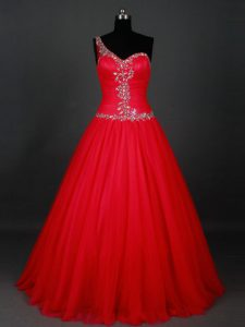 Attractive One Shoulder Sleeveless Prom Evening Gown Floor Length Beading Red Tulle