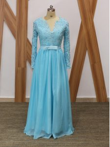 Edgy Long Sleeves Backless Floor Length Lace Prom Dress