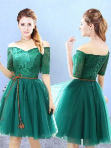 Eye-catching Green Off The Shoulder Neckline Lace Damas Dress Half Sleeves Lace Up