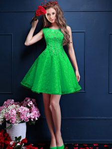 Modest Knee Length Lace Up Dama Dress for Quinceanera Green for Prom and Party with Beading and Lace