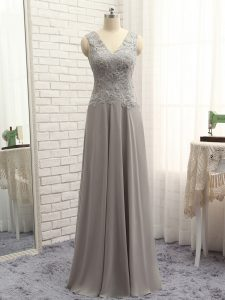 Grey Chiffon Zipper V-neck Sleeveless Floor Length Prom Evening Gown Lace and Appliques