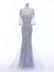 Great Silver Column/Sheath Beading Dress for Prom Zipper Tulle 3 4 Length Sleeve