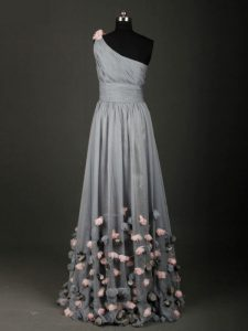 Floor Length A-line Sleeveless Grey Prom Dresses Backless