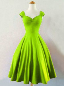 Comfortable Yellow Green A-line Taffeta Straps Sleeveless Ruching Mini Length Lace Up Dama Dress for Quinceanera