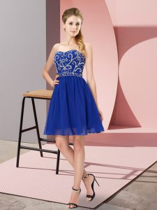 Royal Blue Evening Dress Prom and Party and Sweet 16 with Beading Sweetheart Sleeveless Lace Up