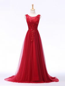 Scoop Sleeveless Evening Dress Brush Train Lace and Appliques Red Tulle