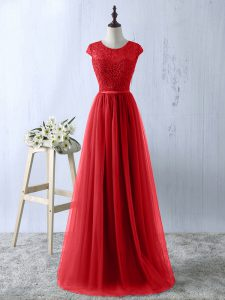 Customized Floor Length A-line Short Sleeves Red Zipper